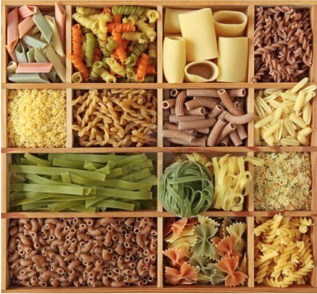 Diversos tipos de pasta